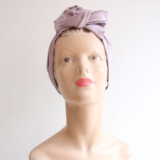 Vintage Turban 1940's hairstyle 1940 style turban vintage revival lilac satin goodwood revival vintage hair handmade hair turban forties