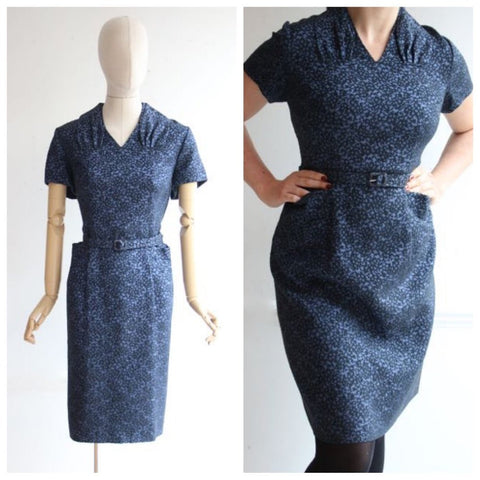 Vintage 1950's Dress 1950's Brocade dress 1950's wiggle dress 1950's dress Abstract wool mix blue and black dress fifties revival UK 14-16