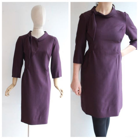 Vintage 1960's dress vintage 1960's purple silk dress sixties wool day dress vintage mad men wear autumn dress purple 60s dress uk 14- 16