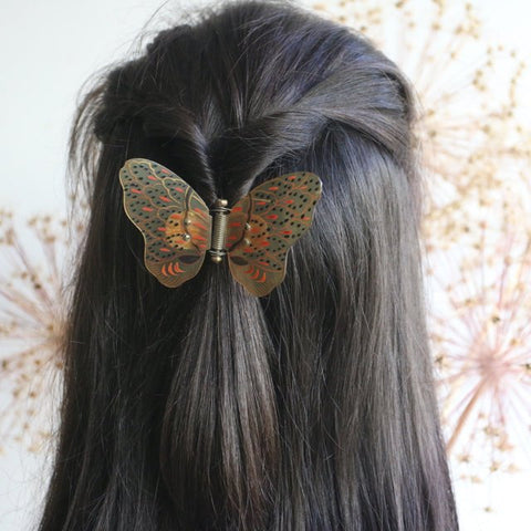 Vintage 1910's hair clasp vintage 1910's hand painted horn butterfly hair clasp 1910's butterfly hair clip Edwardian Hair Slide horn antique
