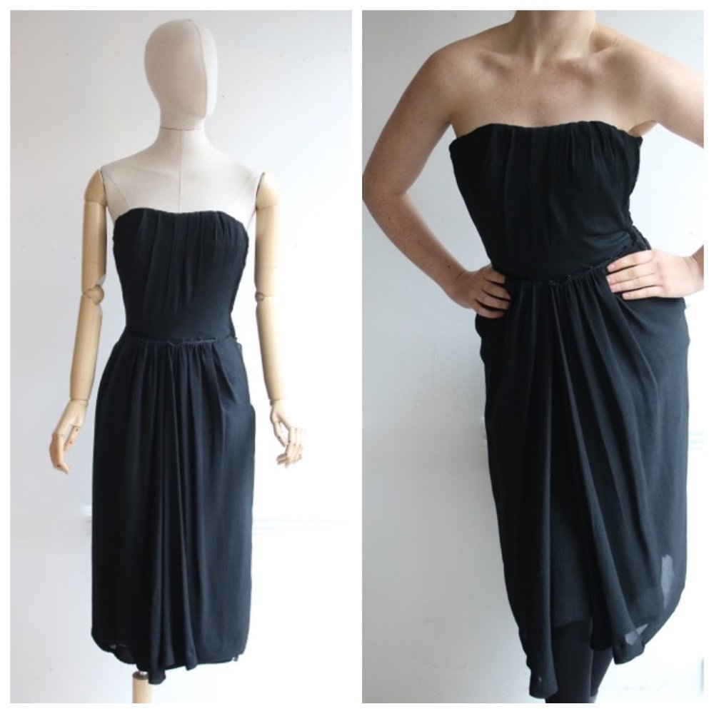 Black Silk Strapless Dress
