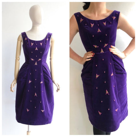 Vintage 1950's dress 1950's velvet dress 1950's purple velvet wiggle dress 1950's beaded dress original 50's fifties cocktail dress UK 10
