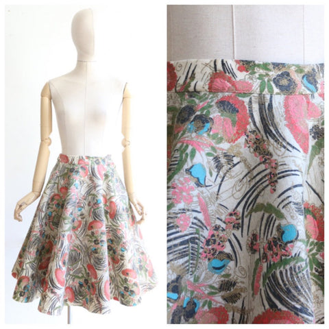 Vintage 1950's skirt vintage 1950s painted felt floral skirt mid century skirt 1950s floral skirt original fifties circle skirt lindy UK 8