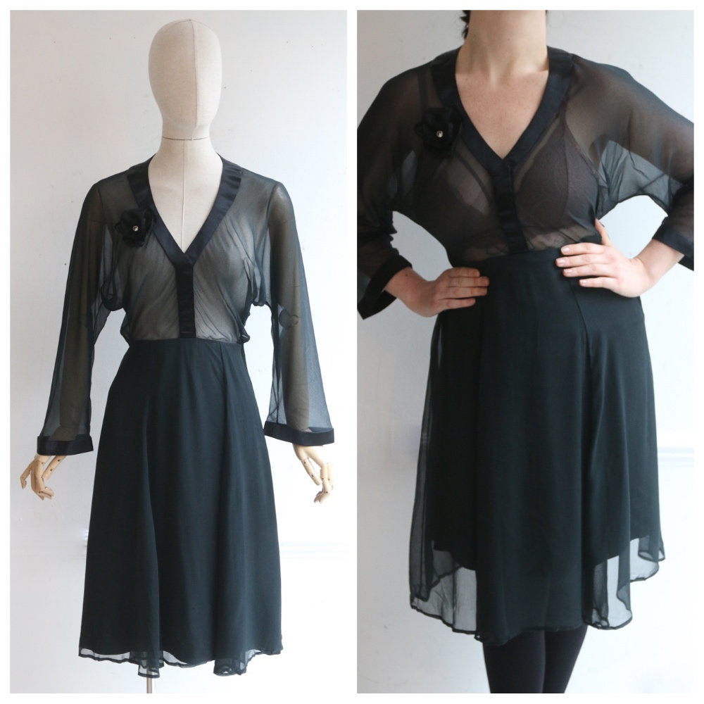Vintage 1950's dress vintage 1950s black satin dress 1950's silk chiffon dress original fifties cocktail dress black sheer dress 50s uk 10