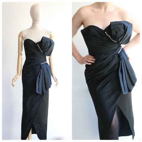 Vintage 1960's dress Vintage 1960's cocktail dress original 1960s wiggle dress 1960s black satin ruched dress strapless evening gown UK 8-10