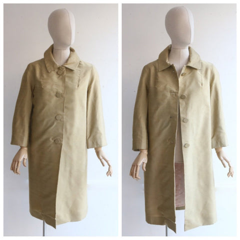 Vintage 1960's coat vintage 1960s dress coat chartreuse silk evening coat original sixties gold shantung silk coat 60s silk swing coat UK 12