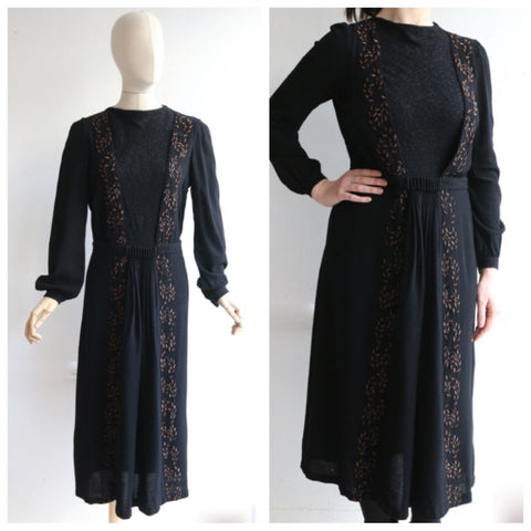 Vintage 1940's dress 1940's wool dress 1940s beaded dress original forties black wool beadwork dress 40s black wool winter dress uk 14-16