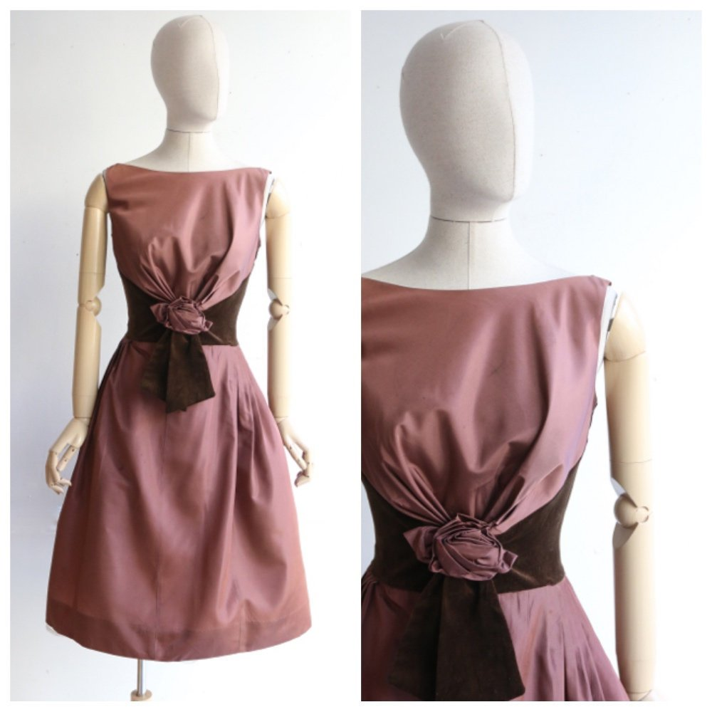 Vintage 1950s's dress vintage 1950s brown dress brown velvet dress original 1950s cocktail dress midcentury rosette dress fifties UK 10
