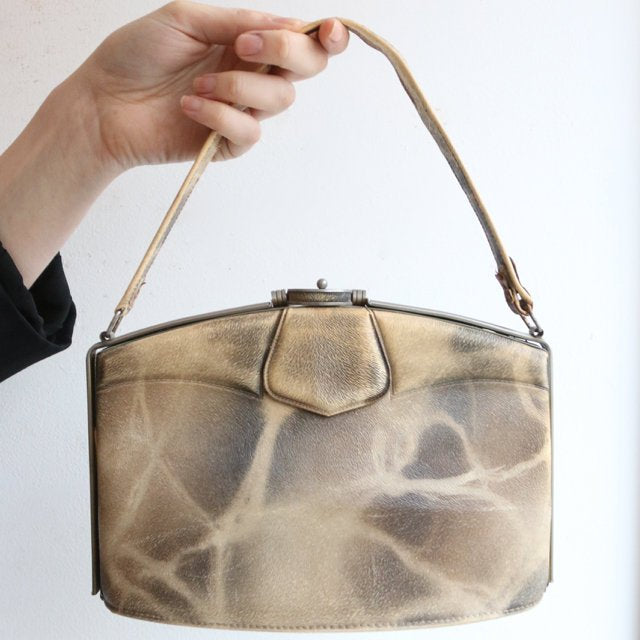 Vintage 1940's handbag original 1940s mock seal fur vinyl handbag original forties vinyl bag forties accessory handbag original top handle