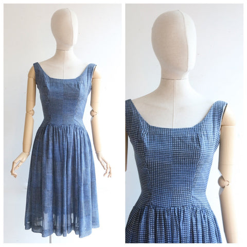 Vintage 1950's dress original 1950's blue check print dress 1950's Linzi line dress fifties midcentury dress 1950's blue white dress UK 6-8