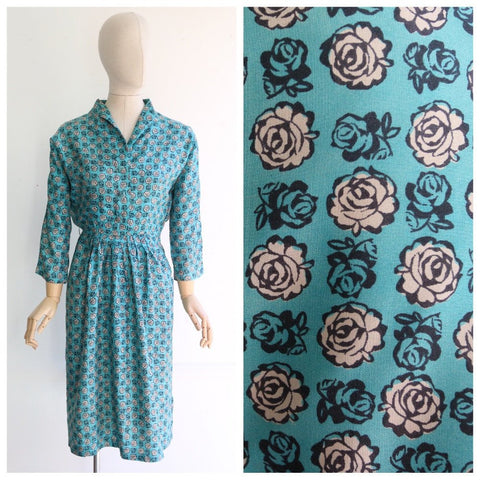 Vintage 1950's dress vintage 1950's silk Frederick Starke dress original 1950's rose print dress turquoise blue floral dress midcentury UK 6