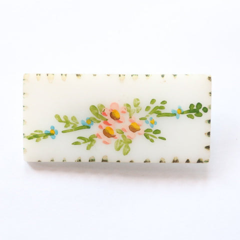 Vintage 1940's brooch vintage 1940's hand painted brooch original 1940's painted floral brooch forties handmade brooch plastic painted