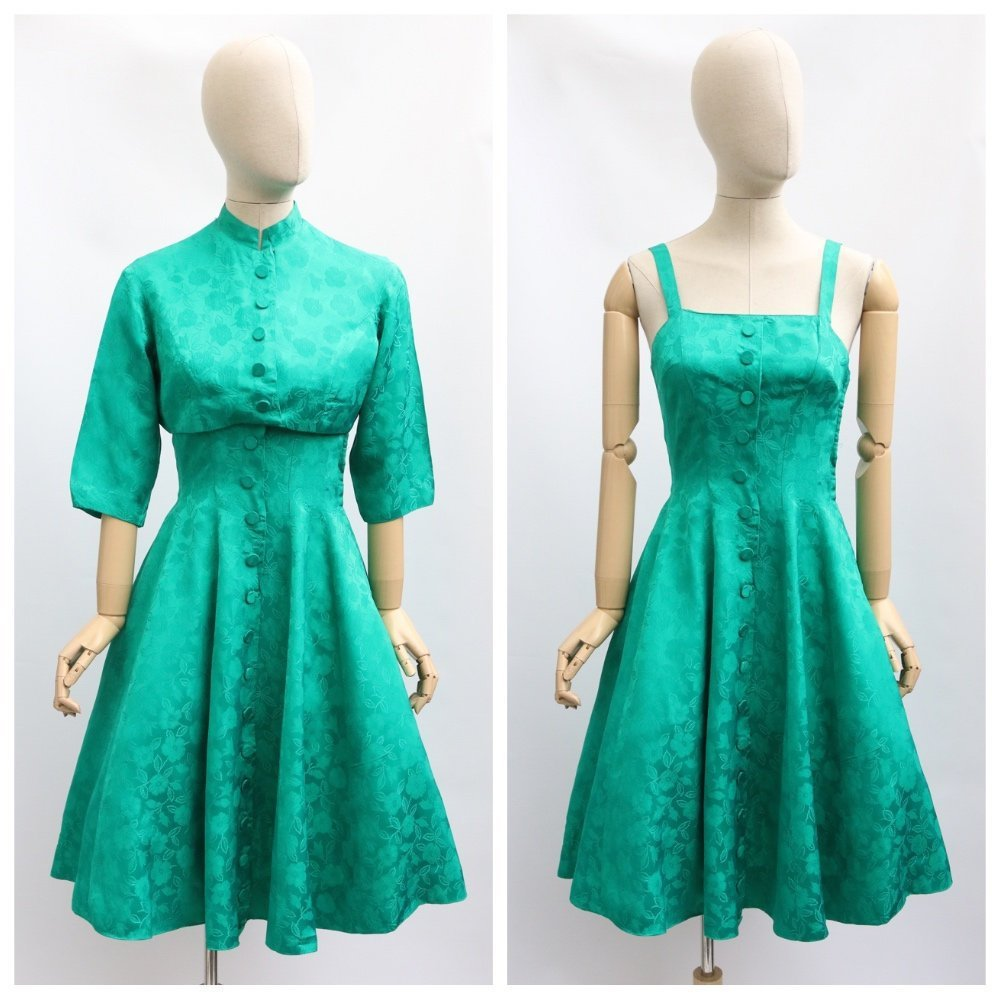 Vintage 1950's dress and jacket vintage 1950's emerald dress dress and jacket vintage fifties silk brocade green dress cropped jacket UK 8