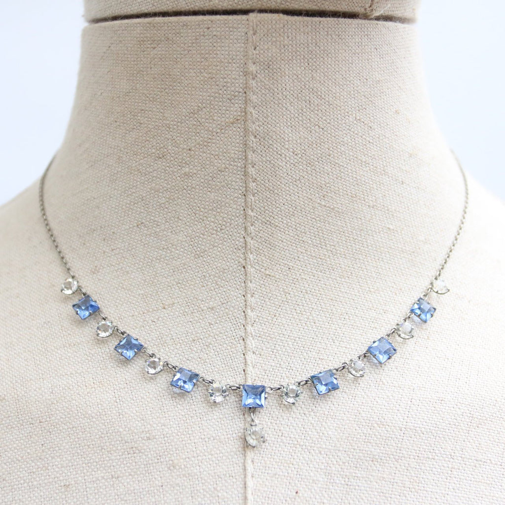 Vintage 1940's necklace vintage 1940's rhinestone necklace original 1940's paste necklack forties silver and blue rhinestones necklace 40's