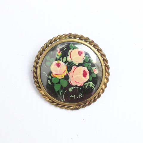 Vintage 1930's brooch vintage 1930's hand painted brooch vintage 1930s brooch thirties french floral rose brooch 30's brooch art deco flower