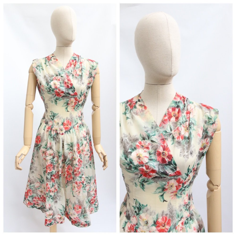 Vintage 1950's dress vintage 1950's nylon dress original 1950's german dress vintage german dress nylon printed floral dress circle UK 10
