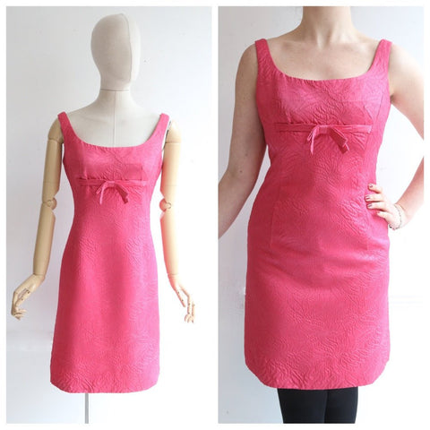 Vintage 1960's dress original 1960's pink Frank Usher dress 1960 hot pink silk cocktail dress matelassé dress silk sixites dress UK 12-14