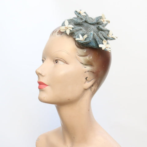 Vintage 1940's Fascinator vintage 1940's floral hat vintage hat original 1940's Mad-Mancy vintage floral fascinator forties perch hat 40s