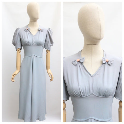 Vintage 1930's Dress vintage 1930's pale blue crepe silk dress 1930's crepe evening dress original 1930's evening gown 1930's dress UK 12-14