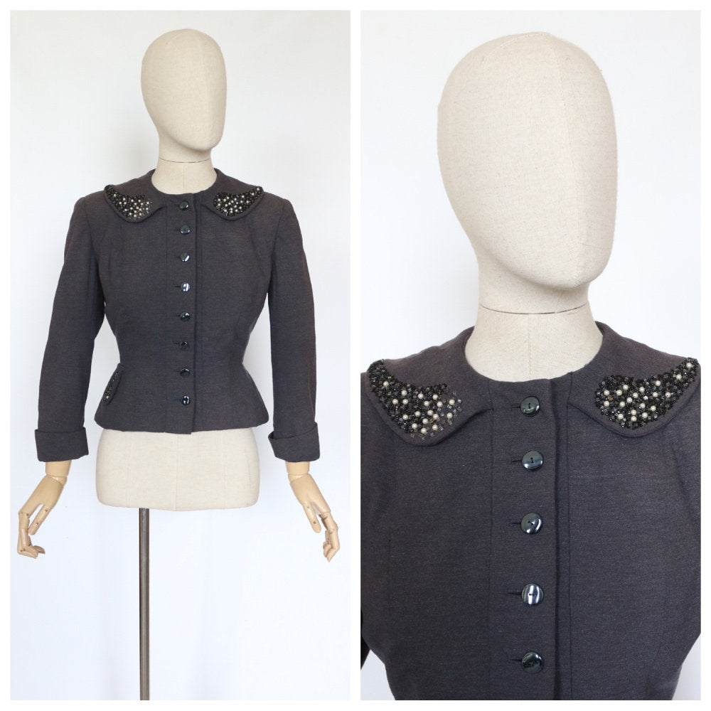 Vintage 1940's jacket original 1940's wool jacket vintage grey beaded jacket 1940's embellished jacket original  peplum jacket UK 10-12