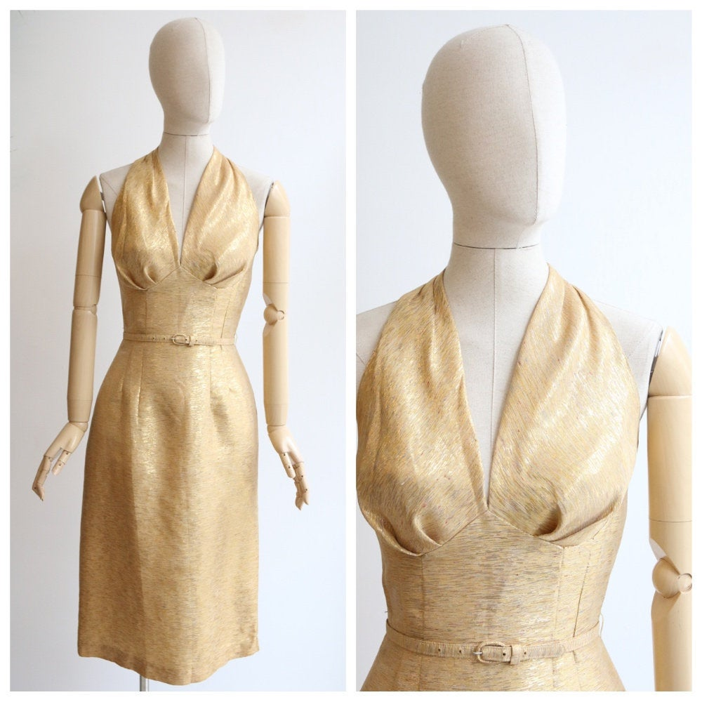 Vintage 1950's dress vintage 1950's gold wiggle dress original 1950 hourglass sparkling gold dress brushed gold cocktail dress fifties  UK 8