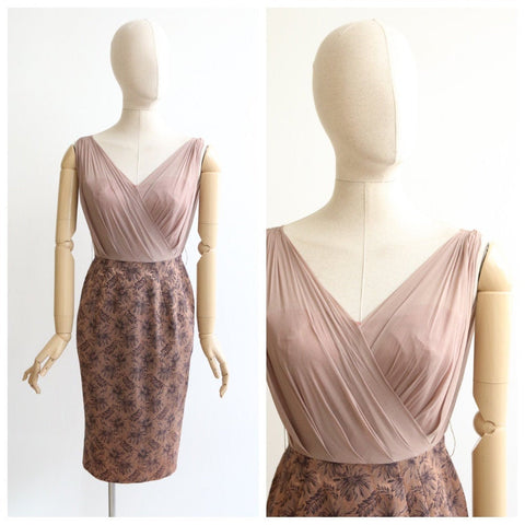 Vintage 1950's dress vintage 1950's wiggle dress original 1950s Jay herbert silk brocade georgette silk dress wiggle dress brown floral UK 6