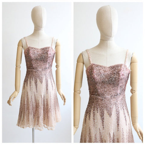 Vintage 1950's dress vintage 1950's sequin dress original 1950's prom dress sequin ombre dress fifties embellished gown original UK 6-8
