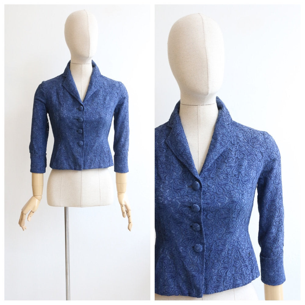 Vintage 1950's jacket vintage blue lace jacket 1950's lace jacket original fifties jacket blue lace floral jacket fitted jacket 50s UK 10