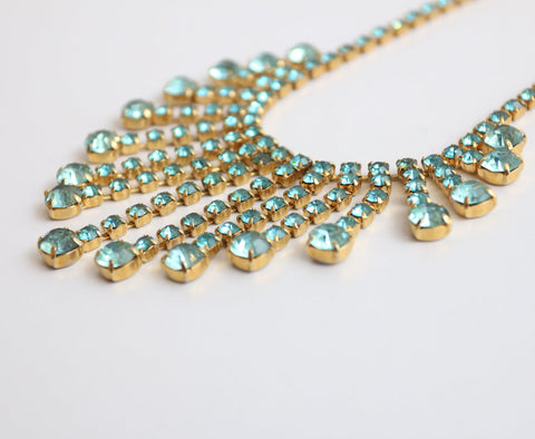 Vintage 1950's necklace vintage 1950's rhinestone necklace original fifties paste necklace glass crystal necklace 1950s glass rhinestone