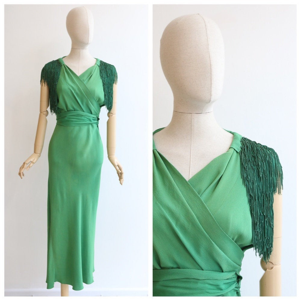 Vintage 1930's dress vintage 1930's crepe silk dress original 1930s green silk tassel dress 30s fringing dress art deco green bias UK 10-12
