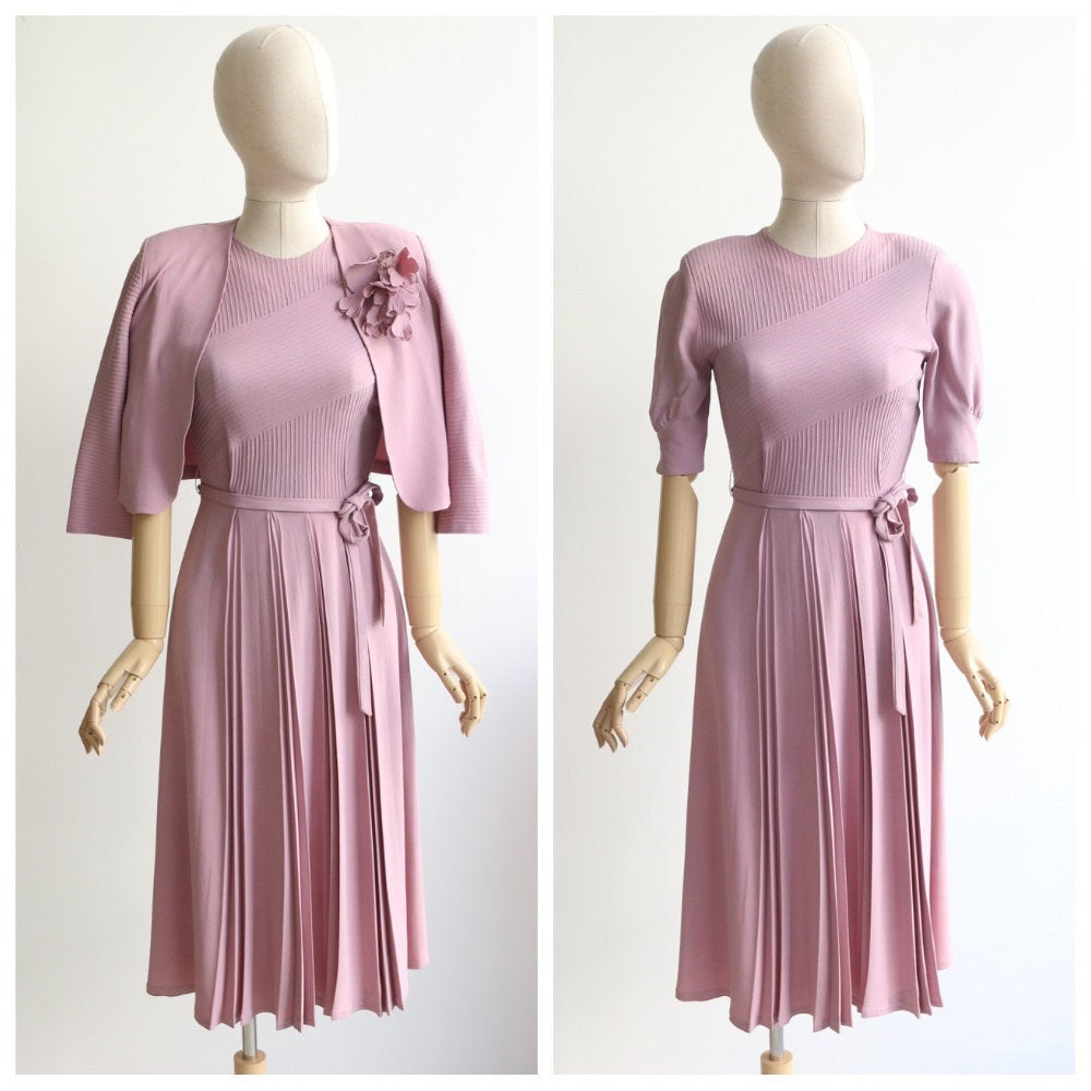 Vintage 1940s Dress 1940's CC41 Dress original 1940s IIOII double eleven rare ration dress forties dinner plate lilac crepe silk dress UK 8
