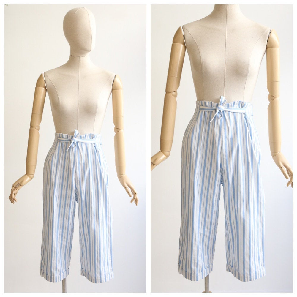 Vintage 1950's Capri pants vintage 1950's high waisted capris 1950's pinstripe pedal pushers 1950's fashion original 1950s cotton capri UK 8