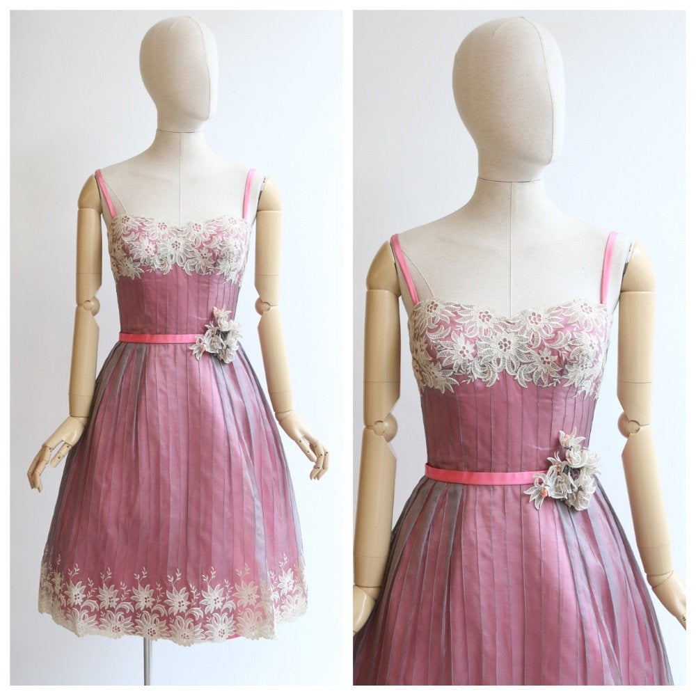 Vintage 1950's dress vintage 1950s satin dress original 1950's lace dress 1950's swing dress original 1950s pink grey couture dress UK  10