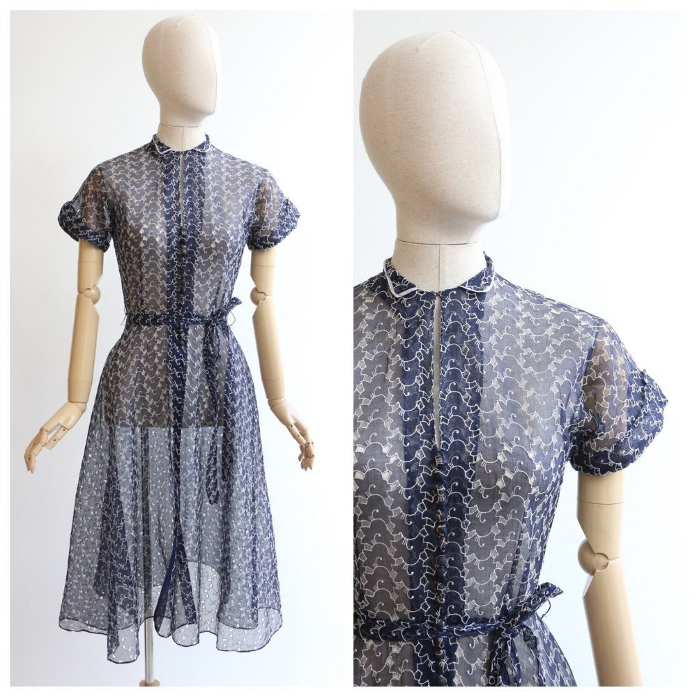 Vintage 1950's dress vintage 1950's embroidered dress original 1950's embroidered cut out dress navy blue and white 1950 dress fifties UK 10