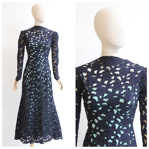 Vintage 1930's Floral dress 1930's navy blue floral embroidered dress 1930's floral appliqués dress original 1930s gown 1930s cut out UK 6-8