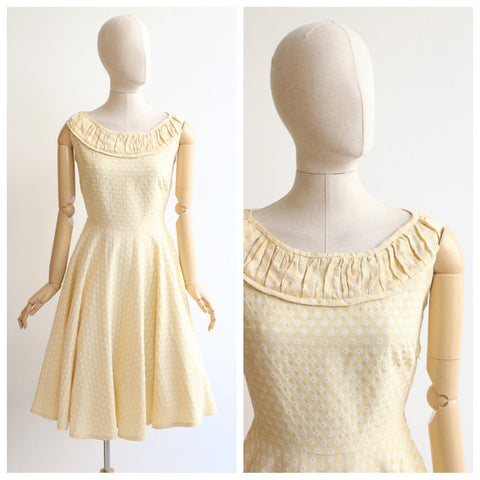 Vintage 1950's dress vintage 1950's yellow dress 1950's daisy brocade dress original 1950's silk brocade day dress original 50s dress UK 10
