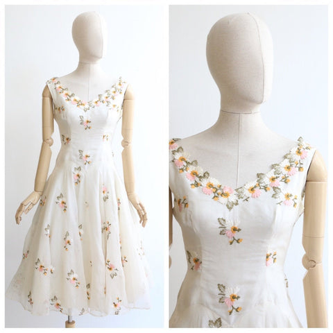 Vintage 1950's dress vintage 1950's organza dress original 1950's silk organza embroidered dress 1950s full circle dress floral dress UK 10