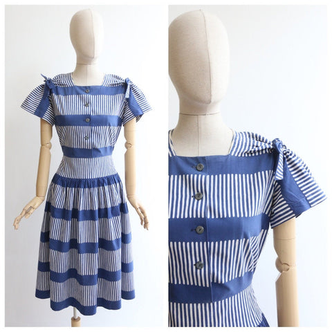 Vintage 1950's dress vintage 1950's horrockses dress vintage 1950 horrockses dress original 1950 nautical blue and white striped dress UK 10