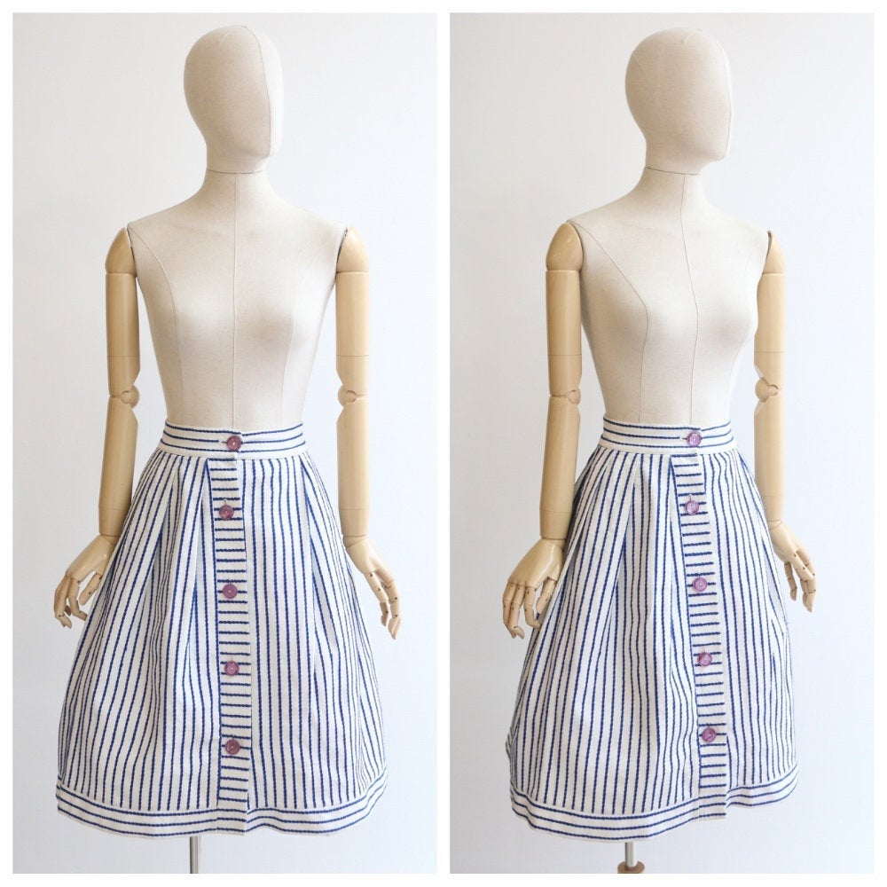 Vintage 1950's skirt original 1950s embroidered skirt navy blue and white 1950s cotton skirt original 1950s button skirt nautical UK 4 24