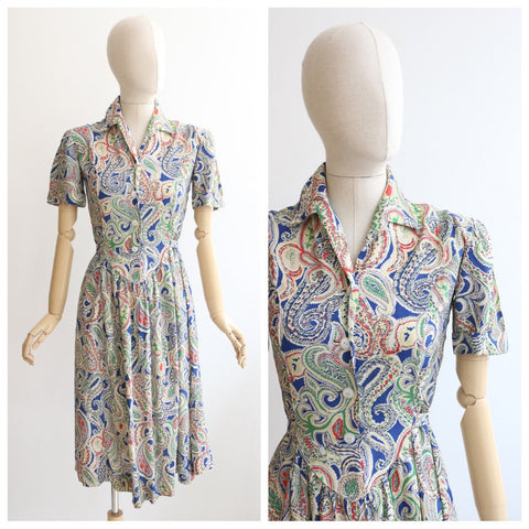 Vintage 1940's dress original 1940's silk paisley dress vintage 1940s paisley dress 1940's silk tea dress original 40s dress forties UK 10