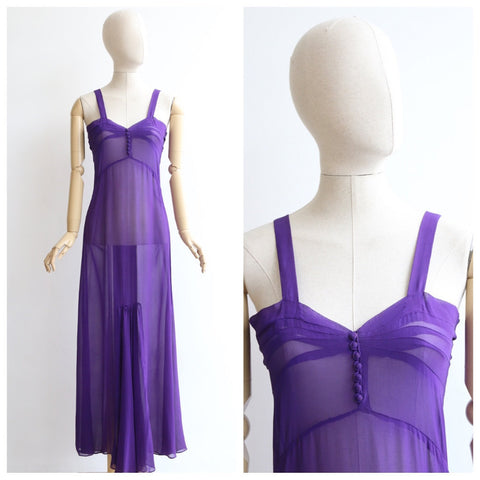 Vintage 1930's dress vintage 1930's silk georgette dress 1930's sheer dress original 1930's violet dress art deco dress original 30s UK 10