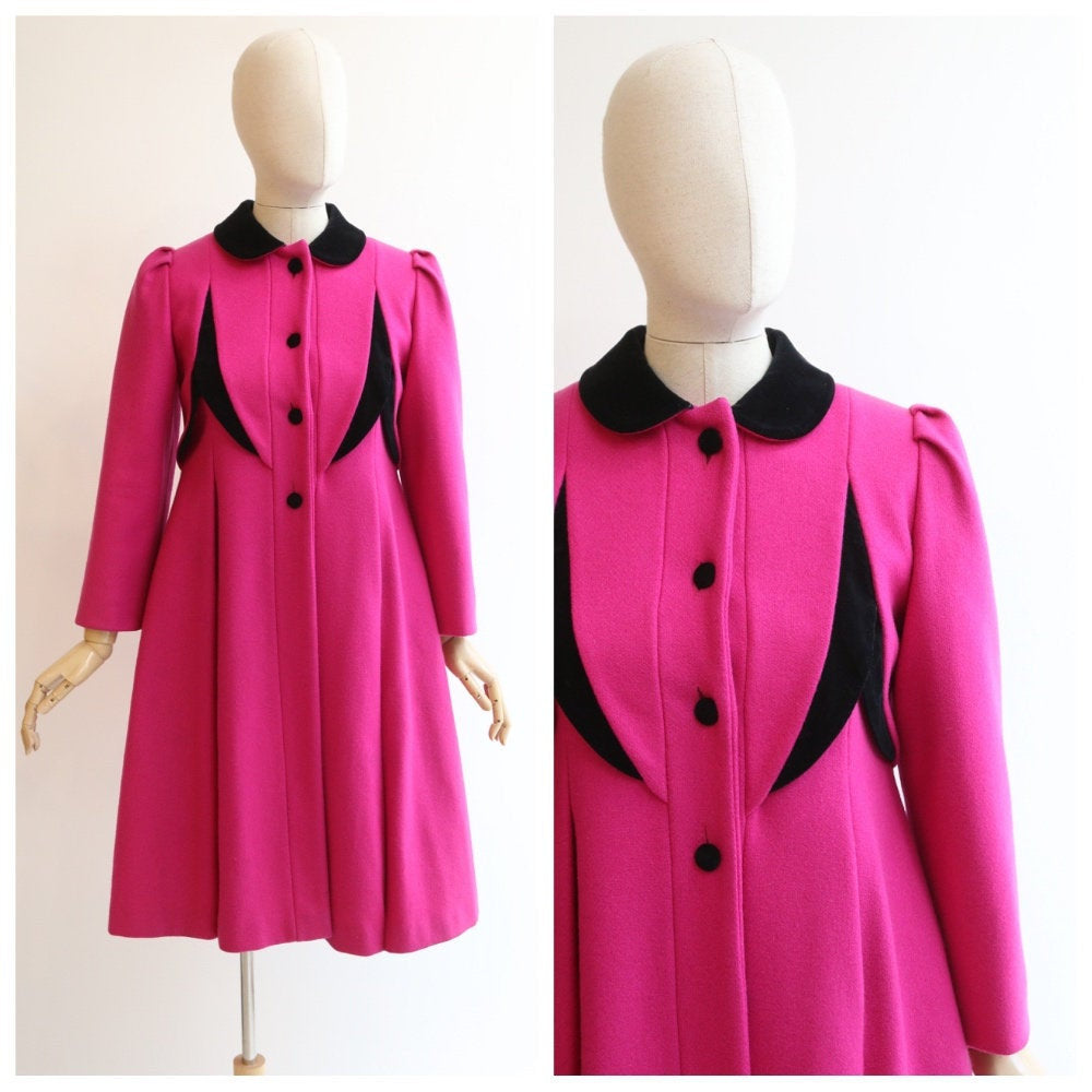 Vintage 1960's coat original 1960's fuchsia pink coat sixties pink winter coat 1960's velvet coat original 60's winter coat wool coat UK 8