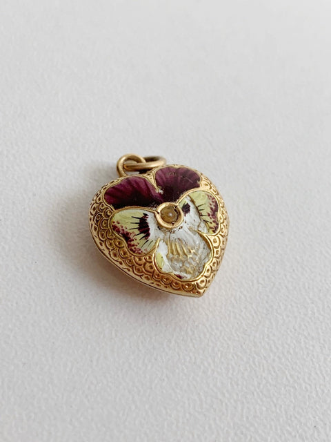Antique Victoria locket enamel and seed pearl 15ct gold pansy locket original victorian friendship locket gold enamel seed pearl miniature