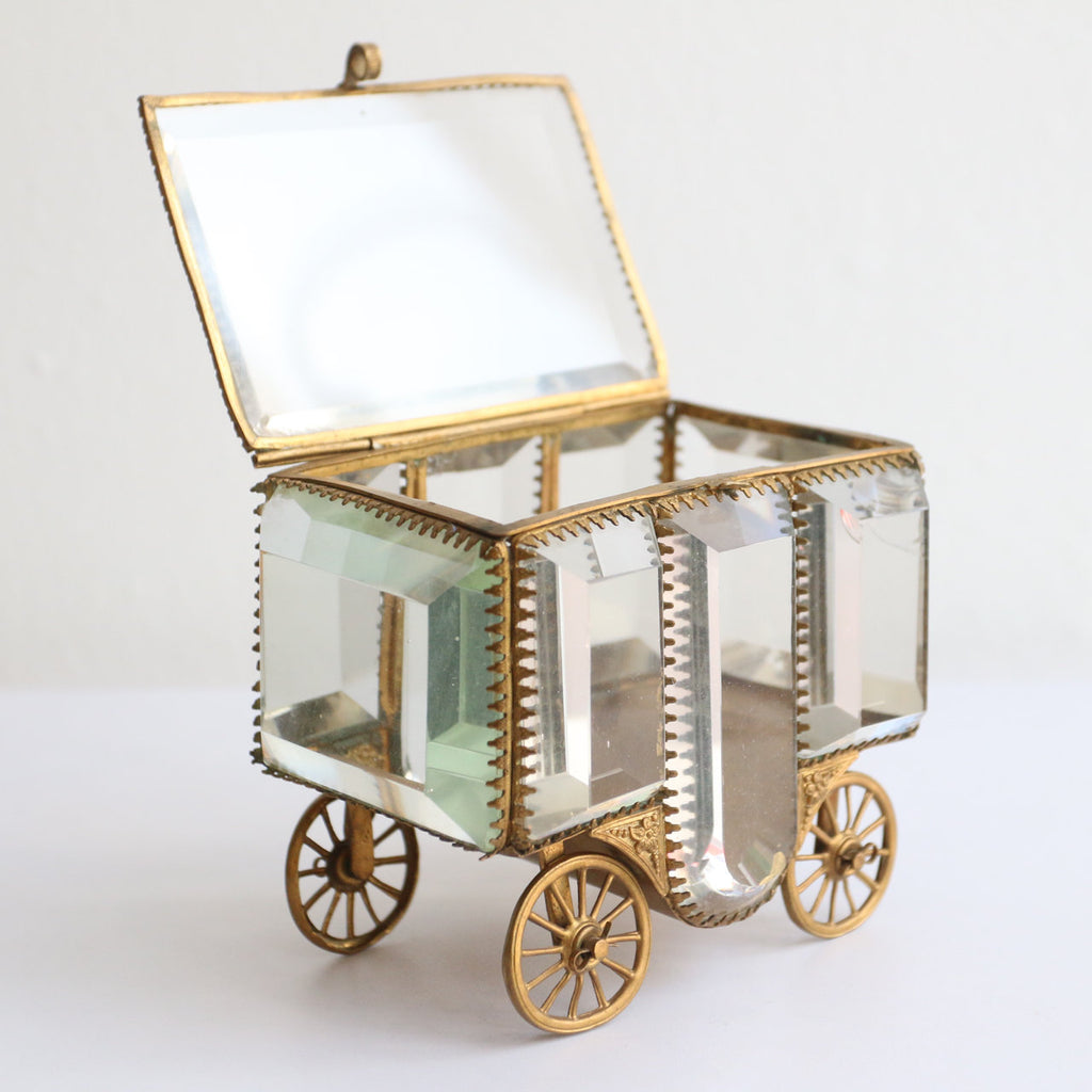 Antique French Glass jewellery casket 19th century french carriage jewellery box Paris glass carriage souvenir glass french vintage box