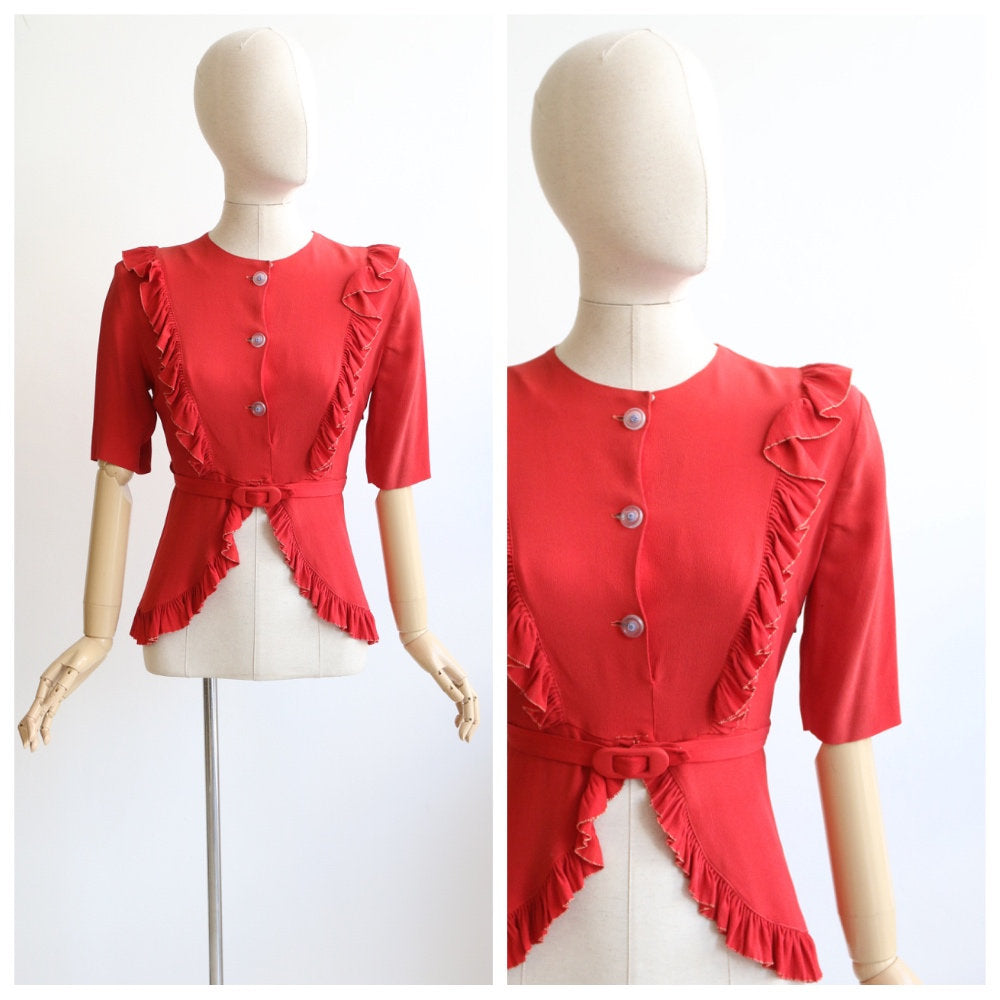 Vintage 1940's blouse vintage 1940's crepe silk blouse 1940's red silk peplum blouse original 1940 top forties peplum shirt 40s blouse UK 12