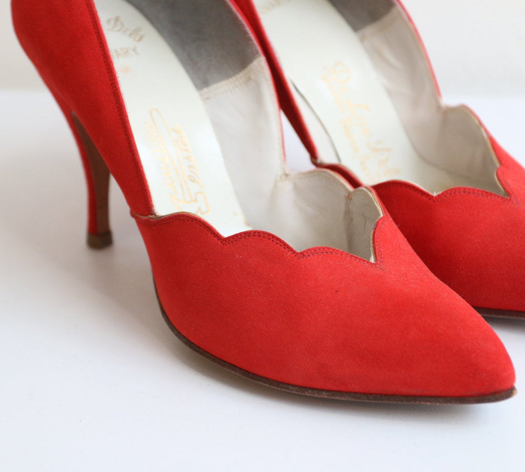 Vintage 1950's Red Shoes vintage 1950's red suede heels original 1950s red suede stilettos original 50s red high heels original 50 UK 4.5 5