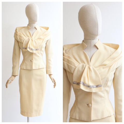 Vintage 1950's Lilli Ann Suit vintage 1950 buttercream lilli ann 2 piece skirt suit vintage 1959 Lilli Ann tailored suit beaded suit UK 8-10