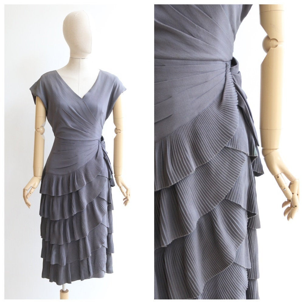 Vintage 1940's dress vintage 1940's grey crepe silk dress original forties pleated dress 1940s tiered dress 1940s grey silk dress UK 10-12