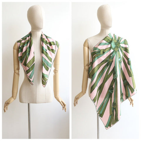 Vintage 1950's scarf vintage 1950's silk scarf original 1950's hand rolled silk scarf 1950s silk pink and green scarf 50s silk scarf knotted