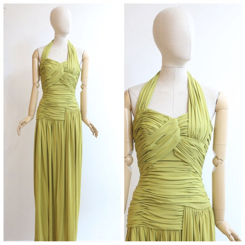 Vintage 1940's evening dress original 1940's chartreuse evening gown 1940's pleated evening dress 1940s gown green dress draped Rare UK 8